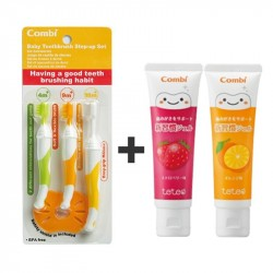 Combi Toothbrush Set + 2 Gel Toothpaste (Orange & Strawberry) Bundle