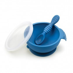 Bumkins Silicone First Feeding Set - Dark Blue