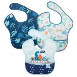 BUMKINS Super Bib 3pc Set: Hangry, Dinosaurs, Blue Tropics