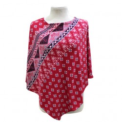 Next9 Nursing Poncho - Scarlet Red Aztec Printed