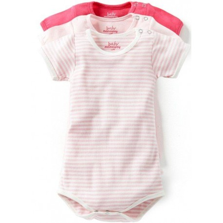 Mamaway Ribbed Short Sleeves Baby Bodysuit (3-Piece)