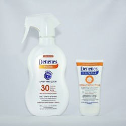 Duo Pack Denenes Parafarma Crema Facial SPF30 Facial Cream 50ml and Denenes Protech Spray Protector FPS30 Sun Screen 300ml