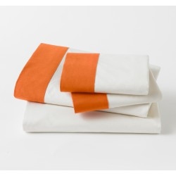 DWELLSTUDIO SHEET SET - MODERN BORDER IN TANGERINE