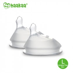 Haakaa Silicone Orthodontic Bottle Nipple - Size L-Variable Flow (2 pcs.)