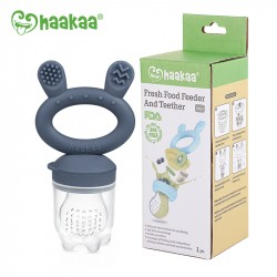 Haakaa Fresh Food Feeder and Teether - Steel Blue