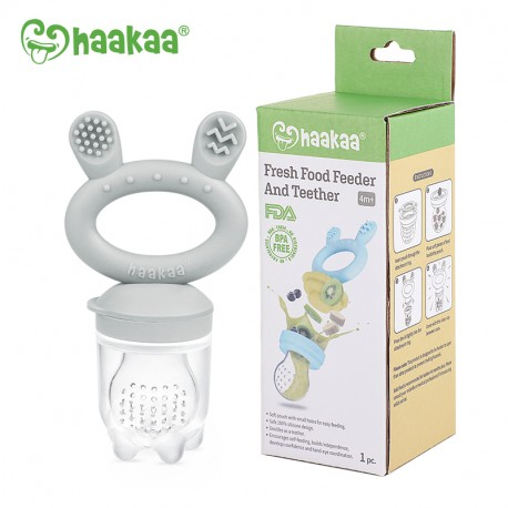 Haakaa Fresh Food Feeder and Teether - Steel Grey