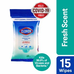 Clorox Expert Disinfecting Wipes Fresh Scent - Flow Pack 15 Wipes
