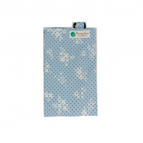 Next9 Nursing Covers - Light Blue with Black Polkadots