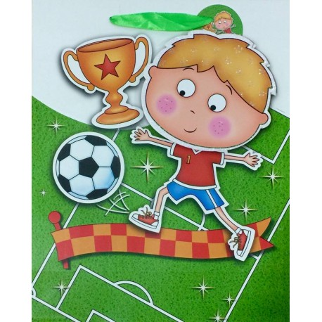 PAPER BAG SMALL - SOCCER PLAYER BOY BLUE (PACK OF 12)