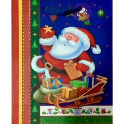 PAPER BAG MEDIUM - SANTA CLAUS IN BLUE (PACK OF 12)