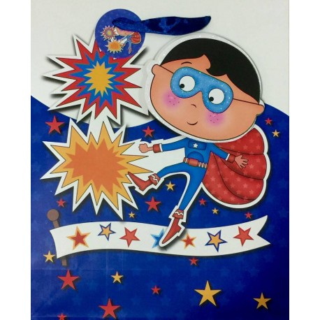 PAPER BAG MEDIUM - WONDER BOY BLUE (PACK OF 12)