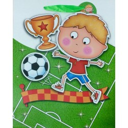 PAPER BAG MEDIUM - SOCCER PLAYER BOY (PACK OF 12)