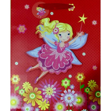 PAPER BAG LARGE - FAIRY IN RED (PACK OF 12)