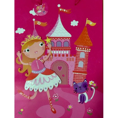 PAPER BAG LARGE - PRINCESS WITH CAT (PACK OF 12)