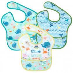 BUMKINS Super Bib 3pc Set - Rolling with the Waves