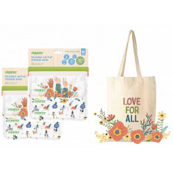 Zippies 2 Sets Love for All Reusable Storage Bags + ippies Love for All Tote Bag (Free)