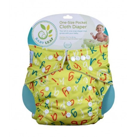 Baby Leaf One-Size Pocket Cloth Diaper - Cute Doodle