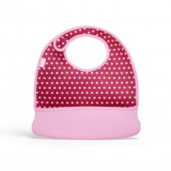 BUILT NY Baby Mess Mate Toddler Bib (2-pc set) - Baby Pink Mini Dots