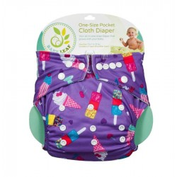 Baby Leaf One-Size Pocket Cloth Diaper - Ice Cream