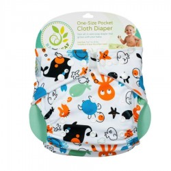 Baby Leaf One-Size Pocket Cloth Diaper - Ocean Pals