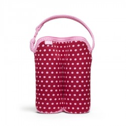BUILT NY Two Bottle Tote - Baby Pink Mini Dots