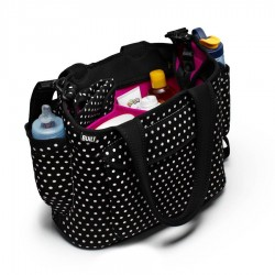 BUILT NY Go-Go Diaper Tote - Mini Dot Black and White