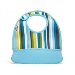 BUILT NY Baby Mess Mate Toddler Bib (2-pc set) - Baby Blue Stripe