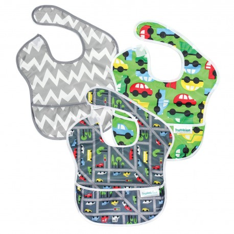 Bumkins Super Bib 3pc Set - Cars and Traffic