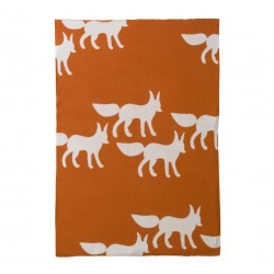 DwellStudio Graphic Knit Blanket - Foxes Orange
