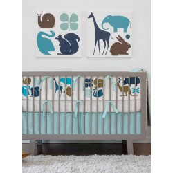 DwellStudio Crib Set - Gio Aqua