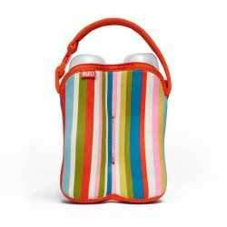 BUILT NY Two Bottle Tote - Baby Pink Stripe