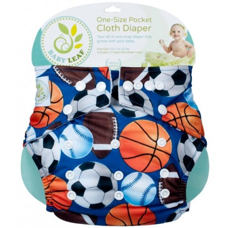 Baby Leaf One-Size Pocket Cloth Diaper - Football