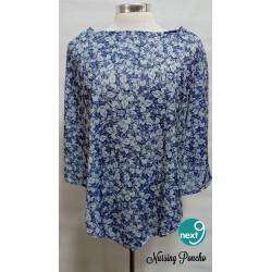 Next9 Nursing Poncho - Blue and White Floral
