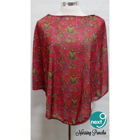 Next9 Nursing Poncho - Red & Yellow Floral