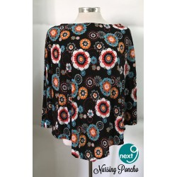 Next9 Nursing Poncho - Black Multi Flowers
