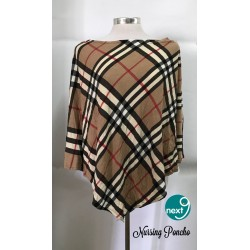 Next9 Nursing Poncho - Brown, Black, White Checkered