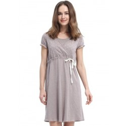 Mamaway Dainty Dots Maternity & Nursing Pyjama Dress with Ribbon - Dark Flaxen