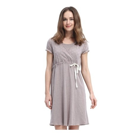 Dainty Dots Maternity & Nursing Pyjama Dress with Ribbon - Dark Flaxen