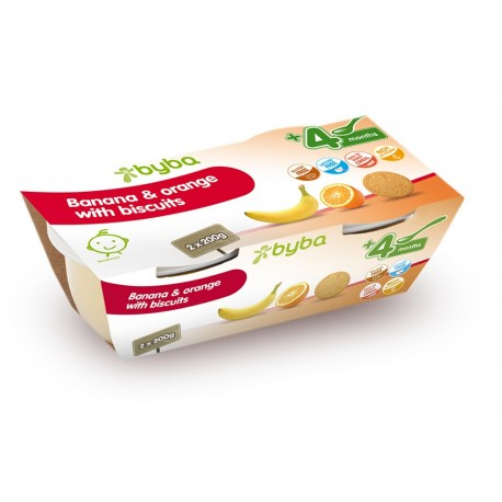 Byba Banana and Orange with Biscuits 2x200G