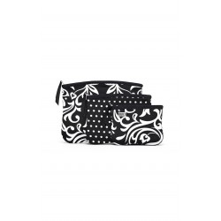 BUILT NY Bryant Park Zip Cosmetic Pouches - Damask and Mini Dot BW