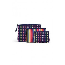BUILT NY Bryant Park Zip Cosmetic Pouches - Lush Flower & Mini Dot Navy