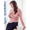 Mamaway V-Neck Maternity and Nursing Cardigan - Apricot Wash